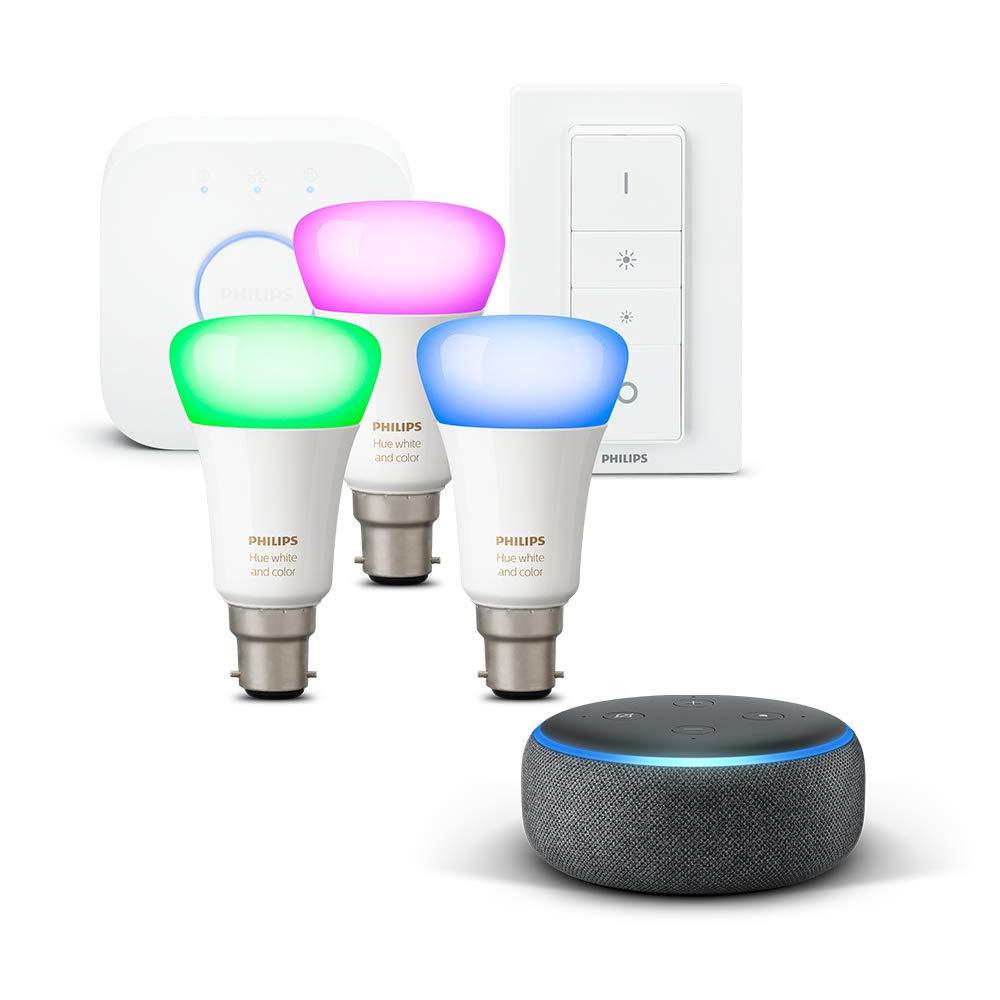 Amazon Echo Dot + Philips Hue Starter Kit deals from Amazon £74.99 - £129.99