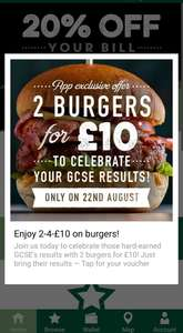 2 Burgers for £10 @ Harvester app with GCSE results