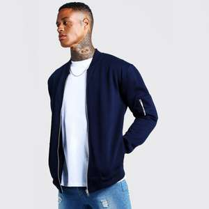 Jersey Bomber Jacket now £12.00 + 99p Next Day Delivery - 40% Off Hoodies & Sweatshirts using code at Boohooman