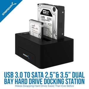 Sabrent USB 3.0 to SATA Dual Bay Ext Hard Drive Docking Station 2.5 or 3.5in HDD SSD Duplicator Cloner Function £19.59 SLJtrading @ Amazon