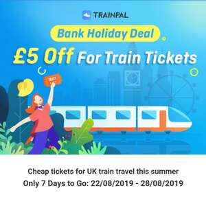 £5 off train tickets costing £40+ with TrainPal app