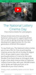 National Lottery invite you to See Any Film in Cinema For Free on Sunday 25th August