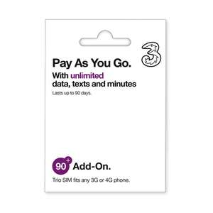 Sim card with 90 days unlimited data, calls, and texts with Three - £52.76 @ Amazon (equates to £18.73 per month)