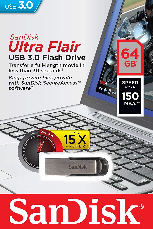 SanDisk Ultra Flair 128 GB USB 3.0 Flash Drive, Upto 150MB/s read - Black for £15.99 Prime/ +£4.49 Non Prime Delivered @ Amazon UK