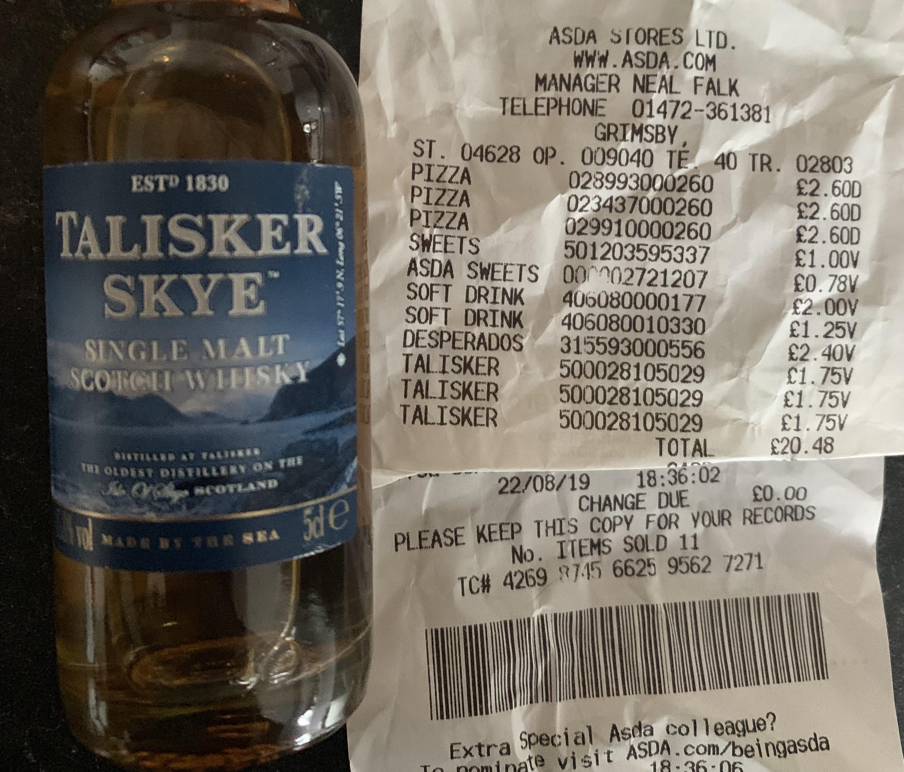 Talisker Skye - Single Malt Whisky 5cl £1.75 at Asda Grimsby