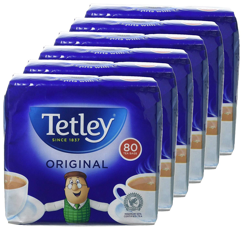 Tetley Original Tea Bags, Pack of 6, 80-Count £2.89 (Prime) £7.38 (Non-Prime) @ Amazon