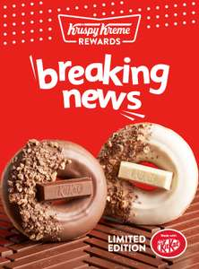 First 12 cars at Krispy Kreme drive thrus at midnight Sunday/Monday 25/26 August get 12 free KitKat donuts each