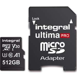 Integral 512GB UltimaPRO V30 Premium Micro SD Card (SDXC) UHS-I U3 + Adapter - 100MB/s for £65.69 WITH CODE Delivered @ Mymemory