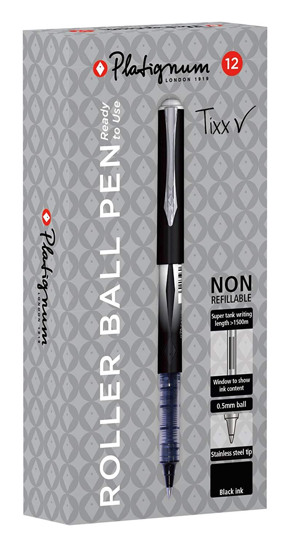 Platignum Tixx Black Roller Ball Pen - Black (Pack of 12) - £7.72 Prime / +£4.49 non Prime @ Amazon