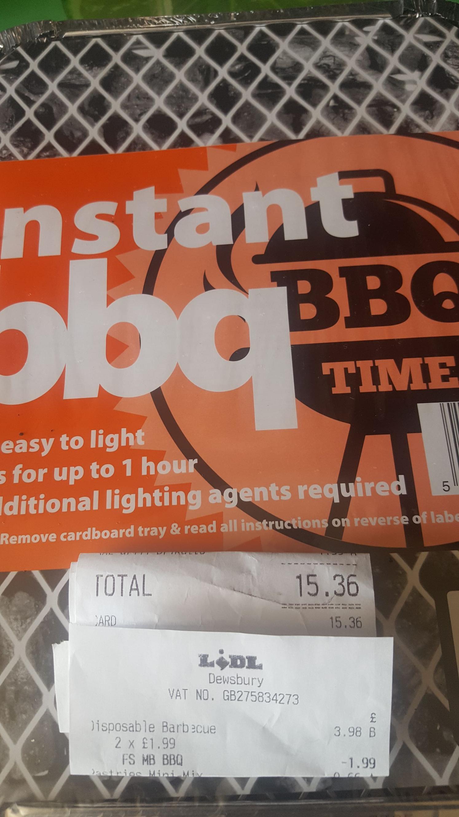 Instant bbq 2 for £1.99 instore @ Lidl Dewsbury - bogof