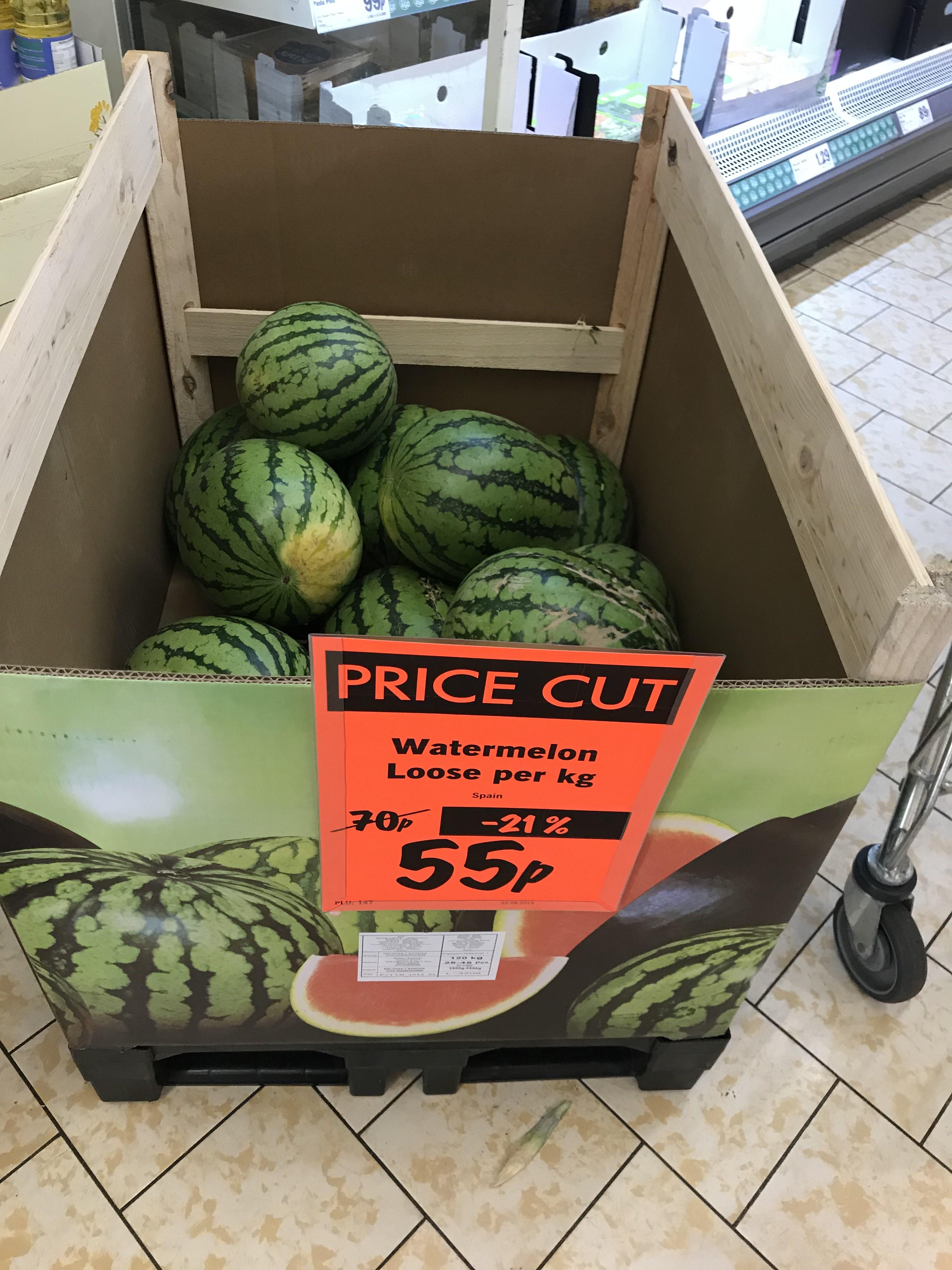 Watermelons 55p per kilo Lidl - 55p