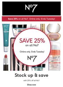 Save 25% on all No7 at Boots Online Only