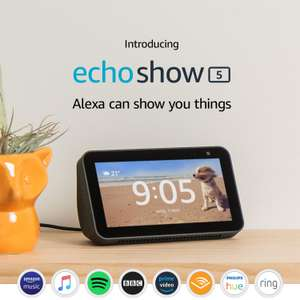2 x Echo Show 5 Black or White – Compact smart display with Alexa £114.98 (£57.48 each) + 2 Year guarantee @ John Lewis & Partners