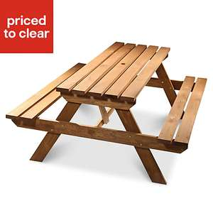 Agad Wooden 6 seater Picnic bench £47 at B&Q (Free C&C)