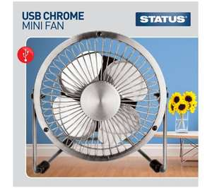 """STATUS USB 4"""" Portable Desktop Bedroom Study Fan - Chrome - Free Home Delivery or Click&Collect - Deals @ Currys £4.99"""