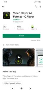 Video Player All Format - OPlayer, normally £2.89, but currently free on Google Play Store