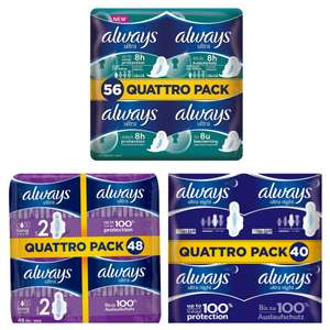 Quattro pack (56/48/40 Pads) Always Ultra Sanitary Towels With Wings £4 in Asda instore
