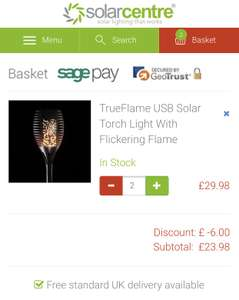 TrueFlame USB Solar Torch Light With Flickering Flame buy one get one free with stack £23.98 at The Solar Centre