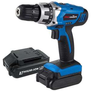 Pro-Craft by Hilka 18V Li-Ion Cordless Drill with 2 Battery Packs £29.74 @ Robert Dyas online and instore with voucher