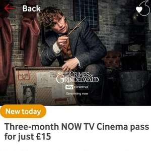 Now TV Three Month Cinema (£15), Entertainment (£10) and Sports (£75) Passes on offer via Vodafone VeryMe