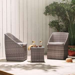 Luxury Rattan Bistro Set – Includes 2 Chairs, Seat Cushions and Glass Top Table £99.99 @ VonHaus – 2 Year Warranty