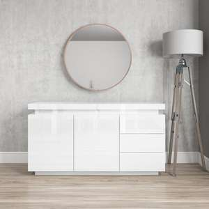 Vivienne White High Gloss Sideboard with LED Lighting - £269.97 delivered @ Furniture123