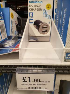 Grundig 2x USB Car Charger 11546 was £6.99 now £1.99 @ Home Bargains