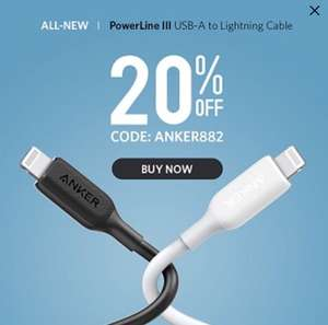 Anker Powerline III | USB-A to Lightning Cable £7.99 Sold by AnkerDirect and Fulfilled by Amazon.