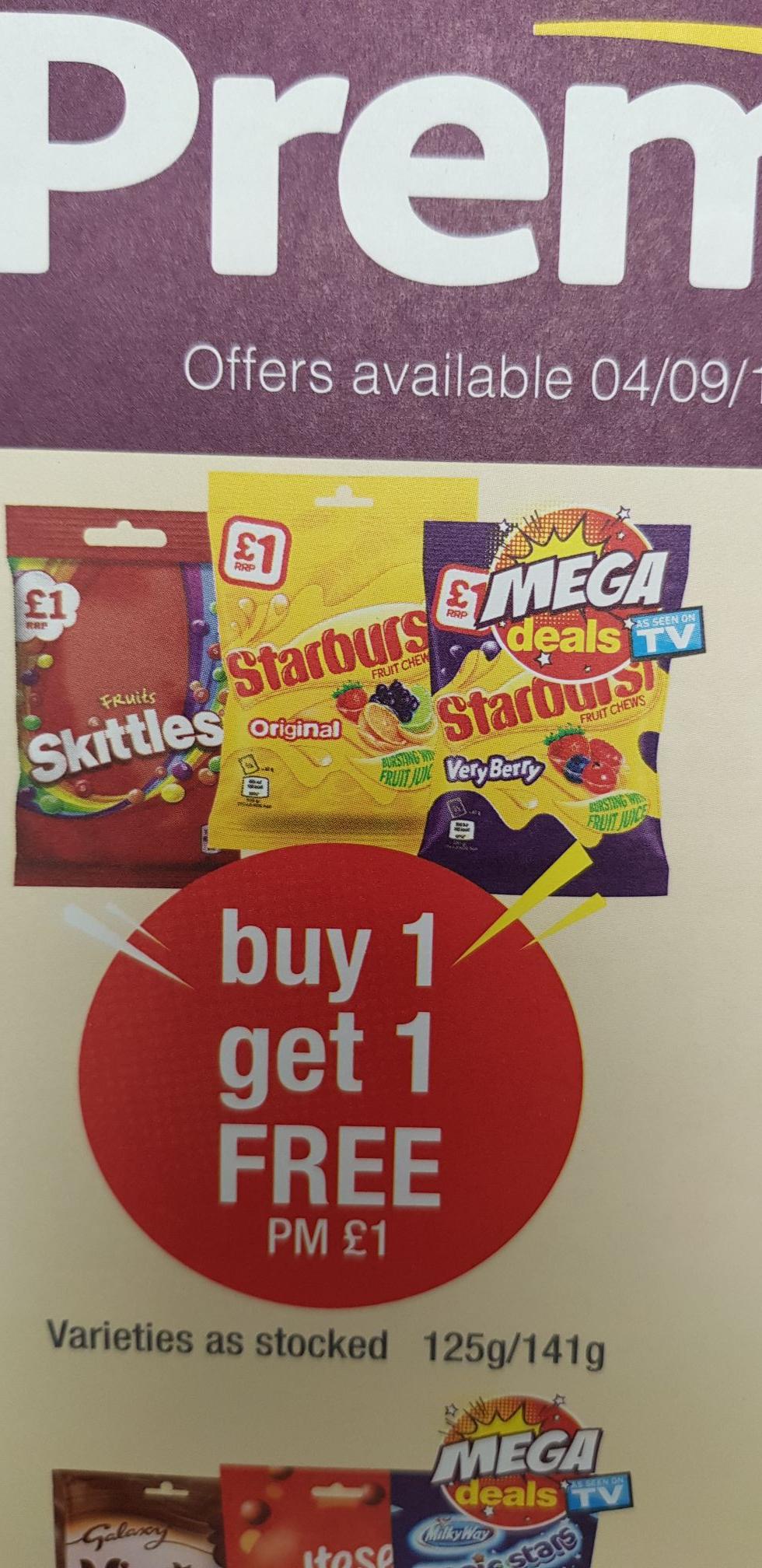 Buy 1 get 1 free - Skittles and Starburst £1 @ Premier Stores