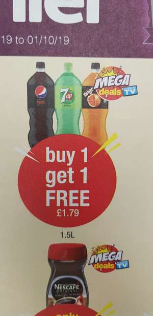 Pepsi max, 7 up free and tango orange Buy 1 get 1 free @ Premier Stores