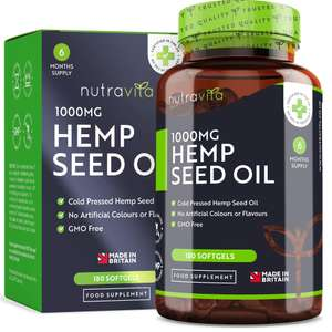 Buy 1 Get 1 Free on Nutravita Hemp Seed Oil 1000mg Softgel Supplements Total  = 1 Year Supply £15.99 delivered with code @ Nutivita / Amazon