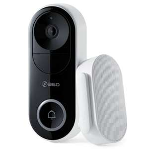 360 D819 AI Face Recognition WiFi Smart Video Doorbell  - Black £83.30 at GearBest