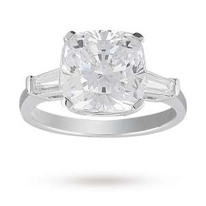 Cushion Cut Cubic Zirconia Cocktail Ring in Sterling Silver – Ring Size Small, £15 Free C&C Or Home Delivery @ Goldsmiths