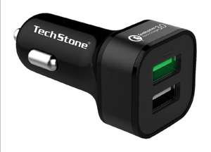 TechStone Car Charger Quick Charge 3.0 Dual USB Port Portable 36W £5 @ TechStone Shop & Fulfilled By Amazon