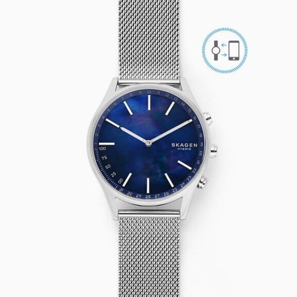 Holst Silver-Tone Steel-Mesh Hybrid Smartwatch (was £169) now £50.15 + Free Delivery @ Skagen + more Skagen Hybrid Smart Watches for £50.15