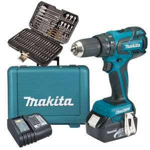 Makita DHP459SM 18v LXT Brushless CombiDrill with  75 Piece Drill & scewdriver Bit Set  £119.99 @ ITS