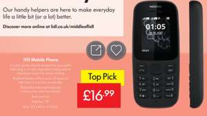 Nokia 105 Mobile Phone - £16.99 @ LIDL