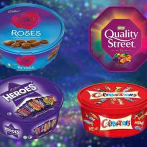 Chocolate Tubs £3.50 each - Celebrations - Heroes - Quality Street - Roses @ Tesco