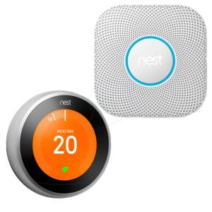 Nest Learning Thermostat Stainless T3028GB and Nest Protect