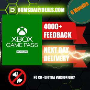 Xbox Game Pass Ultimate - 6 Months Membership Code £19.99 @ domsdailydeals / Ebay
