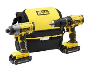 Stanley FatMax Cordless 18 V 1.3A Li-ion Brushed Drill Twin Kit 2 batteries + 1 x free 2Ah battery FMCK465C2S-GB £100 Delivered @ B&Q