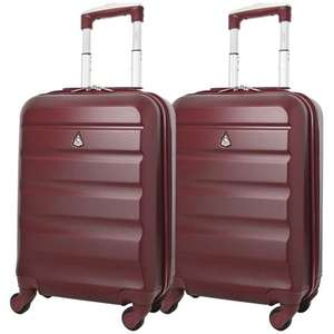 Set of 2 Aerolite (55x35x20cm) Lightweight Hard Shell Cabin Hand Luggage - Wine Colour £39.99 @ Packed Direct