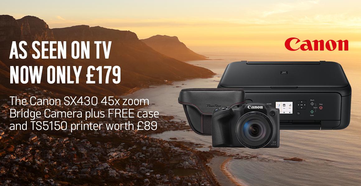 Canon SX430 45x Zoom Camera + FREE TS5150 Printer and Camera Case - £179.99 @ Argos