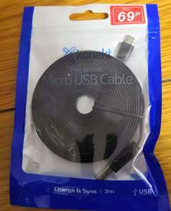 KONEKT 3 METER FLAT MICRO USB CABLE IN STORE @ POUNDSTRETCHER - 69p