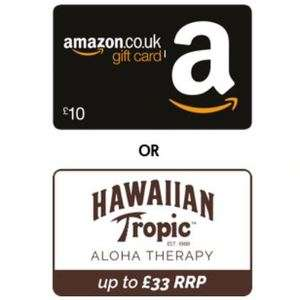 £10 Amazon gift card or £33 Hawaiian tropic bundle with Post Office Travel Insurance