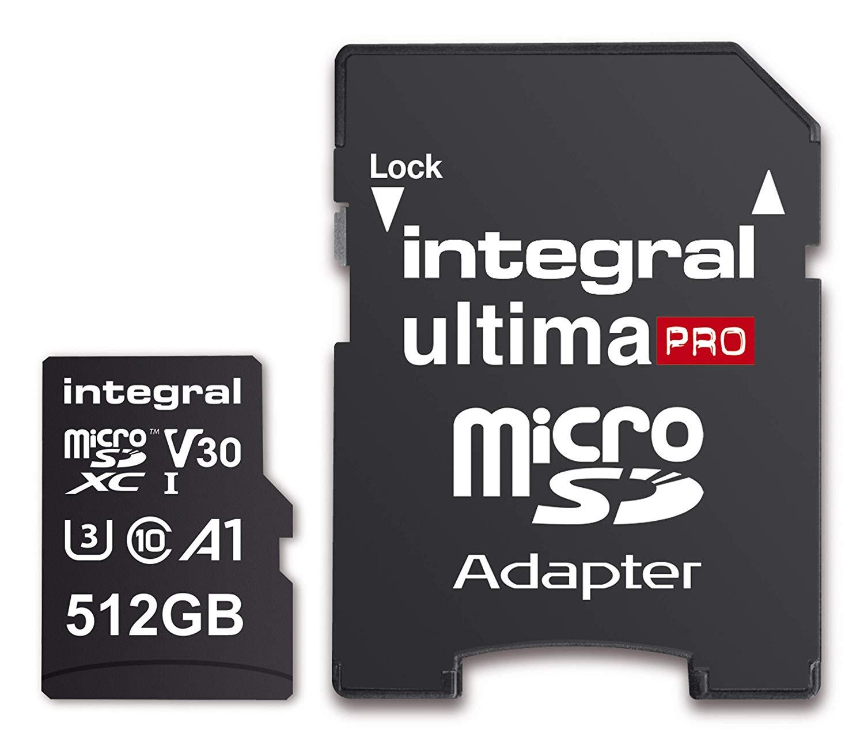 Integral 512GB ultimaPRO U3 V30 microSDXC Up To 100MB/S V30 UHS-I U3 A1 C10 for £57.99 Delivered @ Amazon UK
