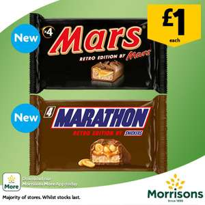 Marathon Bars Are Back! Retro Edition 4 pack 4 x 41.7g  £1 at Morrisons instore