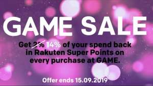 14% back in Rakuten Super Points on every purchase at GAME