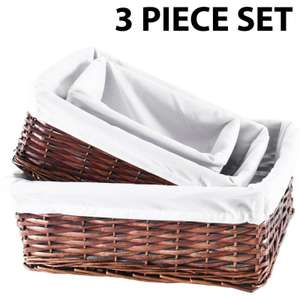 Set Of 3 Wicker Storage Baskets With Removable  Fabric Lining - Choice of Colours, see OP  - £9.99 Delivered by dickensbedding @ eBay