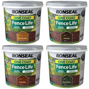 Ronseal One Coat Fence Life Wood Paint (All Colours) 5L for £4 / Dark Green Garden Clogs for £3.50 @ Wilko (c&c £2)